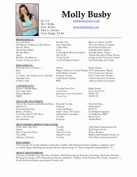 Acting Resume Sample Fresh Qualifications Resume Technical Theatre