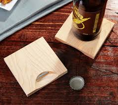 these wooden coasters have an integrated bottle opener on the bottom of each coaster which solves the two worst disasters that can often occur while