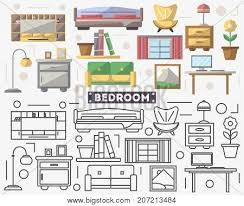 creative furniture icons set flat design. Bedroom Furniture Set In Flat Style. Sofa, Armchair, Window, Flower Pot, Creative Icons Design A