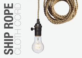 custom made nautical ship rope cloth cord bronze bare bulb pendant light