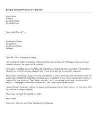 Professors Resumes Sample College Professor Cover Letter Cover Letter College Professor