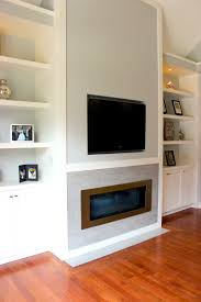 Built In With Fireplace White Living Room Wall Unit With Built In Television And Gas