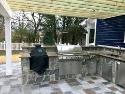 Outdoor Kitchen Images Custom With Big Green Egg And Stainless Appliances Roof