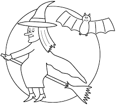 Small Picture Witch on broom with the moon and bat Coloring Page Halloween