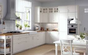 modern white kitchen ikea. Traditional Kitchen With White Cabinets, Wood Worktops, Glass Doors And Integrated Appliances Modern Ikea U