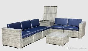 2018 outdoor furniture outdoor patio furniture sectional sofa grey wicker with blue cushions with cushion box new design from netdooo 1104 53 dhgate com