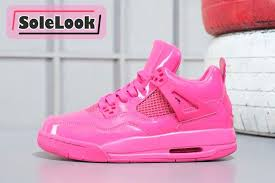 girls air jordan 4 patent leather all pink to