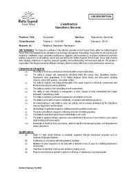 Job Title Cabinet Maker / Carpenter Department Facility Services ...