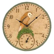 barn owl garden outdoor clock thermometer 12
