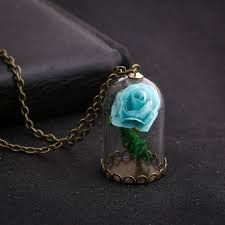 Vintage Glow In The Dark Jewelry Luminous Flower Pendant Necklace Glass  Wishing Bottle Chain Long Statement