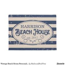 Vintage Beach House Personalized Navy Blue Doormat | Doormat and House