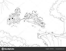 Kleurplaat Vector Van Kinderen Een Vliegende Auto Rijden