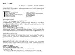 Homey Medica Medical Technologist Resume Nice Objective For Resume