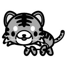 モノクロでかわいい虎の無料イラスト商用フリー オイデ43