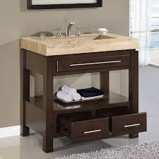 modern single sink bathroom vanities. Modern Single Sink Bathroom Cabinet Unit Ideas Dark Walnut Vanity With Storage Drawers And Open Shelf Beige Antique Travertine Countertops Vanities