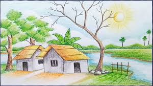 How To Draw Scenery Of Light And Shadow By Color Pencil Youtube