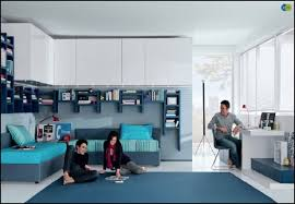 Bedroom Modern Bedroom Design With L Shaped Blue Bunk Bed And