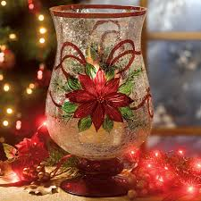 holiday hand painted poinsettia hurricane kitchen brylanehome