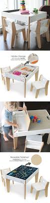 this toddler table has reversible chalk table top to quickly hide any mess and two ergonomic child chairs