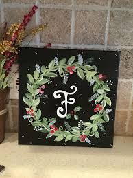 pallet painting ideas christmas. painted canvas christmas wreath with initial. pallet painting ideas
