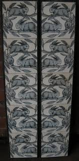 details of a william de morgan design fireplace tiles baby rabbits from our range of nature mantels surrounds in the art nouveau style