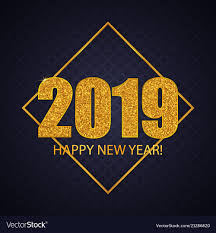 2019 Happy New Year Greeting Card Design Vector Image
