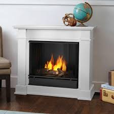 ventless gel fuel fireplace in white