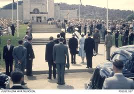 friday essay king queen and country will anzac thwart  queen elizabeth ii and prince phillip ing the n war memorial in 1954 n war memorial