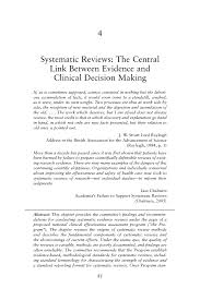 systematic reviews the central link between evidence and page 81