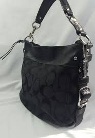 Coach Black Signature Hobo Shoulder Bag