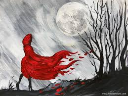 little red riding hood easy painting on canvas step by step by the art sherpa for