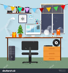 office decoration. Christmas Eve Creative Workplace Concept And New Year Office Decoration Flat Design. Lobby Design