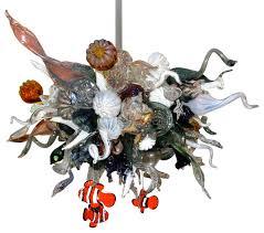 blown glass chandelier art glass lighting c reef chandelier