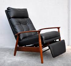 mid century striking recliner lounge chair with footrest also black leather wrap black leather mid century