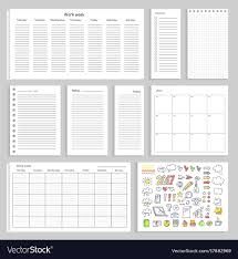 Empty Charts Paper Sheets With Empty Schedule Notes And Charts