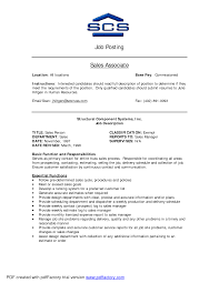 Resume For Sales Associate Position Sales Associate Job Objective