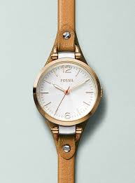 fossil georgia brown leather strap watch