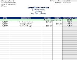 Template Of Statement Statement Of Account Template Statement Of Account