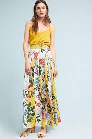 Rococo Sand Size Chart Nwt Anthropologie Rococo Sand Aprile Yellow Floral Maxi Long