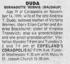 Obituary for BERNADETTE DUDA (Aged 79) - Newspapers.com