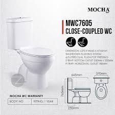 details of mocha water closet mwc7605 washdown flushing water system s trap 250mm 10