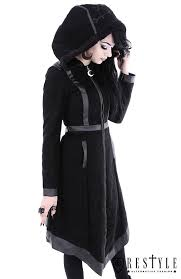 gothic winter coat with oversized hood embroidery moon witch coat