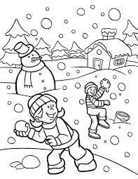 Small Picture Funny Snownall Fights During Heavy Snow on Winter Coloring Page