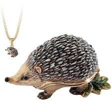 Hidden Treasures By Arora Design Uk Bejeweled Secrets Hedgehog Trinket Box With Hidden Pendant