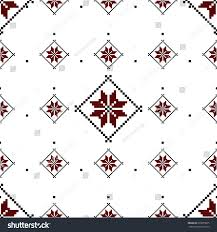 Seamless pattern with ethnic geometric abstract ornament. Cross stitch  Slavic embroidery motifs. Decorative elements