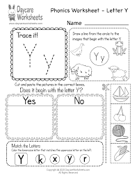 It is easy to print, download and use the kindergarten worksheets online. Free Letter Y Phonics Worksheet For Preschool Beginning Sounds