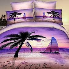 Alicemall Purple 3D Bedding Twin Size 100% Cotton Palm Beach Set