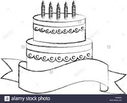Tasty Birthday Cake With Candles And Decorative Ribbon Vector