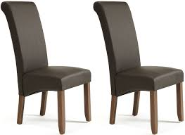 brilliant brown leather chairs for dining serene kingston brown faux leather dining chair with walnut