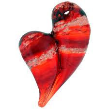 hand blown glass heart ash pendant